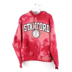 Champion Stanford University Acid Wash Hoodie Red